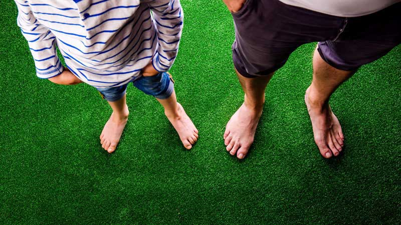 Standing on Synthetic Grass